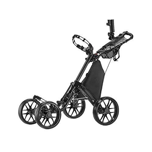 CaddyTek plegable Carrito de golf 4 ruedas con bolsa de almacenamiento -gris oscuro