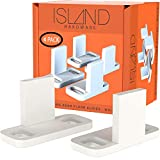 Sliding Closet Door Guides - White Barn Door Floor Guides (4 Pack) by Island Hardware - Adjustable Floor Mount Bottom Track Guides for All Types of Sliding Doors Including Bypass - Easy to Install