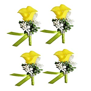 MOJUN Groom Groomsman Calla Lily Boutonniere Buttonholes Corsage Calla Lily Flowers Brooch for Wedding Prom Party, Pack of 4, Yellow