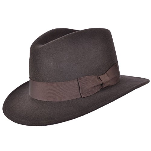 Indiana - Sombrero de Fedora de cowboy, flexible, de fieltro, color marrón, 100% de lana - 55cm S Small 55cm