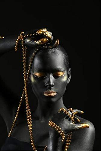 Arte moderno maquillaje dorado mujer negra lienzo pintura decoración de pared carteles e impresiones escandinavo modelo sexy cuadro de arte de pared A96 40x60cm