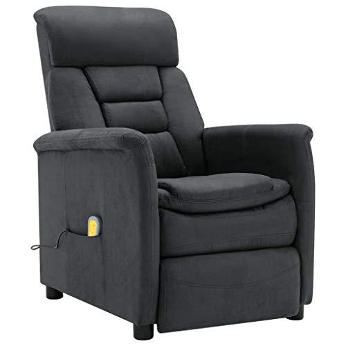 vidaXL Massagesessel mit Heizfunktion TV Sessel Fernsehsessel Relaxsessel Ruhesessel Polstersessel Liegesessel Lounge Dunkelgrau Wildleder-Optik