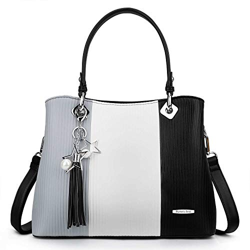 Handbags for Women with Multiple Internal Pockets in Pretty Color Combination (Extra Large - Black)