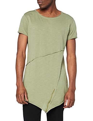 Urban Classics Long Open Edge Front Zip Tee T-Shirt, Grün (lightolive 729), Large Uomo