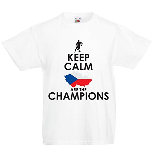 N4496K La Camiseta de los niños Czechs Are The Champions (9-11 Years Blanco Multicolor)