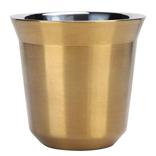 Taza de café de Doble Capa, diseño ergonómico de Acero Inoxidable Resistente al Desgaste Delicado y Duradero, Taza de café, para cafetería, Camping, para Tienda de té en(Titanium)
