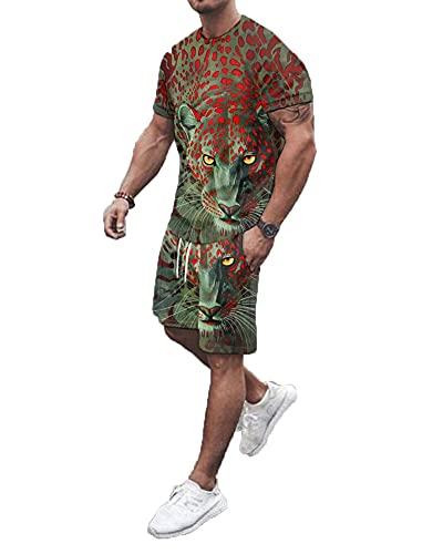 SSBZYES Camiseta para Hombre Camiseta De Verano De Manga Corta Pantalones Cortos Camiseta Pantalones Cortos Tops Estampados Camisas Pantalones Cortos De Manga Corta con Cuello Redondo Trajes