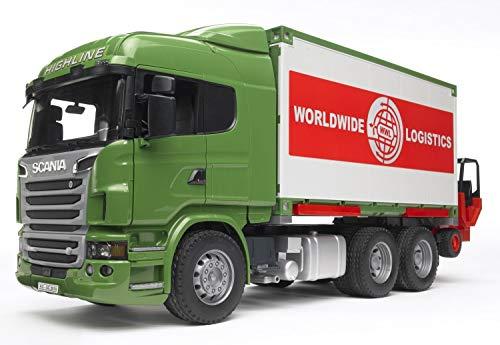 Bruder 03580 Scania - Camión contenedor y Carretilla elevadora