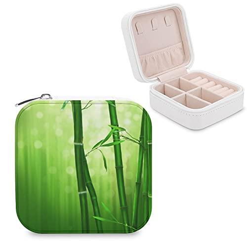 Organizador de joyas de viaje para niñas, mujeres, bambú, verde con luces pálidas en la parte posterior, estuche de almacenamiento portátil para anillos, pendientes, collares