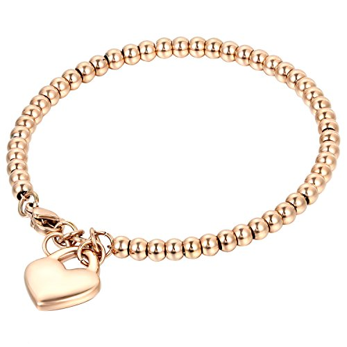 OIDEA Damen Armband, Exquisit Rund Kreis Kugel Perlen Perlenkette Armkette Armreif Handgelenk Armschmuck mit Herz Anhänger, Silber (Rosegold Herz)