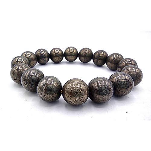 Plusvalue Pyrite Bracelet Money Magnet Bracelet for Men Women Boys and Girls Reiki Healing Chakra (Beads Size: 12mm Jute Bag)