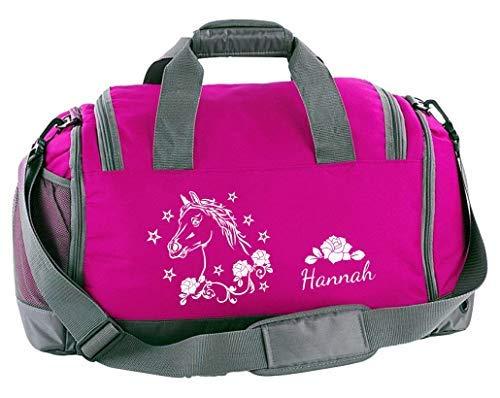 Mein Zwergenland Sporttasche Kinder mit Schuhfach und Nassfach Kindersporttasche 41L mit Namen personalisiert, Motiv Pferd, in Pink
