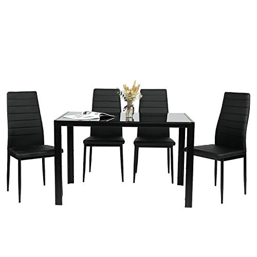 BAHOM 5 Piece Kitchen Dining Table Set for 4, Glass Dining Table and 4 Chairs PU Leather for Home Breakfast Dinner (2 Boxes)