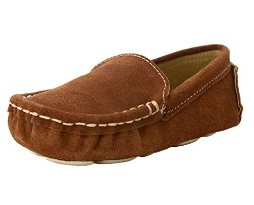 WUIWUIYU Baby Toddlers Boys Girls Suede Slip-On Penny Loafers Flats Moccasins Comfort Casual Shoes Brown Size 6 M