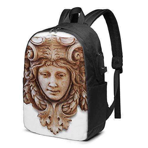Laptop Rucksack Business Rucksack für 17 Zoll Laptop, Braune römische Kopfskulptur Renaissance Schulrucksack Mit USB Port für Arbeit Wandern Reisen Camping, für Herren Damen