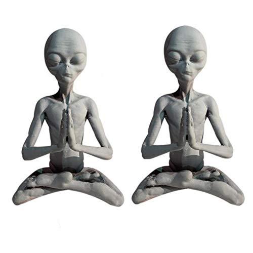 Alien Meditations Ornament | 2 piezas de estatua espacial Alien - Figuras de arte retro para decoración de árbol, maceta, recipiente de cristal, figuras decorativas para interiores y exteriores