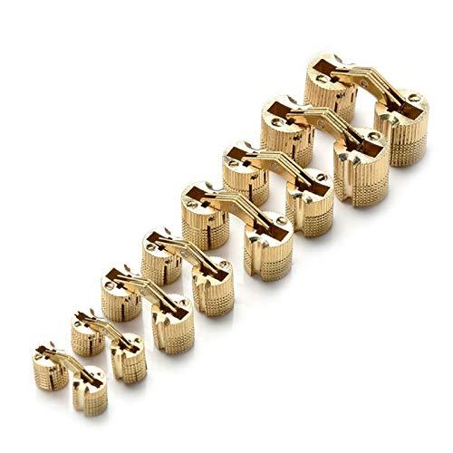 Cerniera per Mobili 3pcs Funny Rame Rame Brass Mobili Cerniere Cabina armadio cilindrico Cerniera invisibile Cerniere per porte invisibili per calze decorative hardware per mobili montaggio, 8-18mm ce