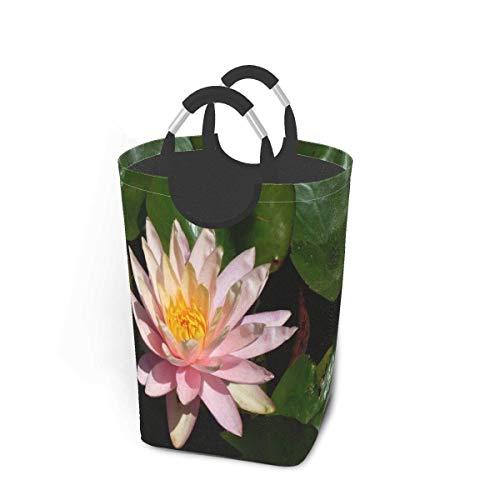Cestas de lavandería plegables, cesto de ropa sucia, hermosas flores florales de loto en flor, cestas de lavandería plegables con asas de metal, cesto de lavandería plegable para dormitorio, t