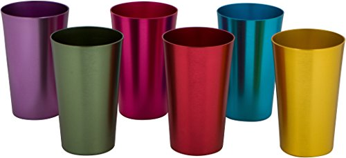 Retro Aluminum Tumblers - 6 cups - 12 oz. - By Trademark Innovations (Assorted Colors)