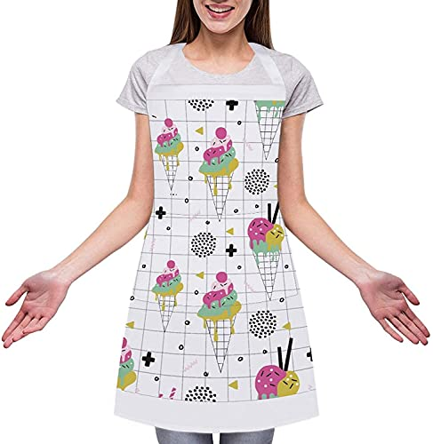 Icecreamdesign Customizable Adjustable Adult Apron-Ordinary for Kitchens Florists Hotels Barbecue Shops Novelty Kitchen Apron for Cooking Baking Gardening Pet Grooming Cleaning