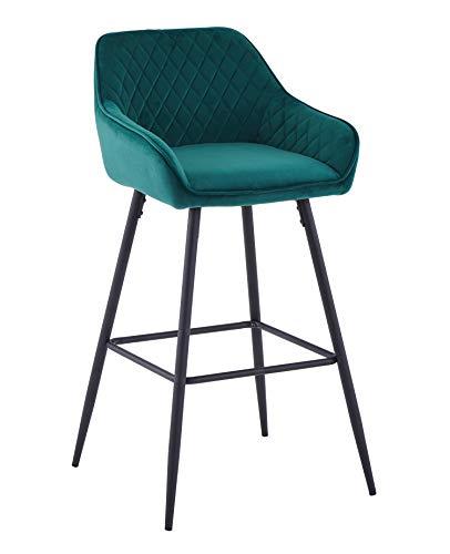 AINPECCA Velvet Bar Stool Fabric Upholstered seat with Backrest & Armrest Black Metal Legs Kitchen Breakfast Counter Chair (Green velvet, 1)