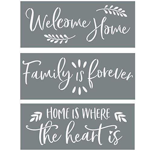Plantillas Zeagro para pintar sobre madera de abolladuras en casa, la familia es para siempre, en casa donde está el corazón – Cree hermosos letreros DIY con plantillas Word – Juego de 3