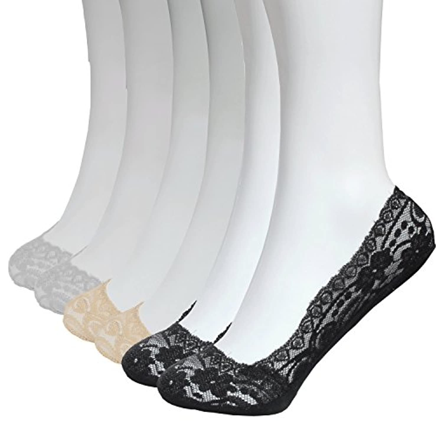 6 Pairs No Show Socks Women Lace Thin Casual Socks Non Slip No Show Socks for Flats Liner Socks