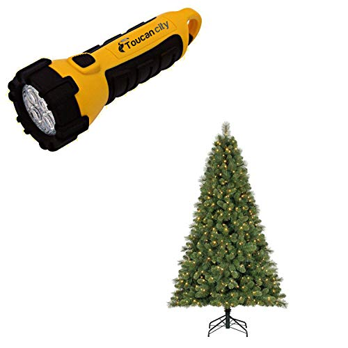 Toucan City LED Flashlight and HOME HERITAGE 9 ft. Artificial Cascade Pine Christmas Tree with Color Changing Lights TG90M3W92D00