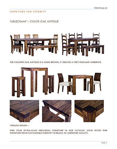 TableChamp Catalogue with 8X Real Wooden Samples Oak Antique Honey Brazil White Unfinished Walnut