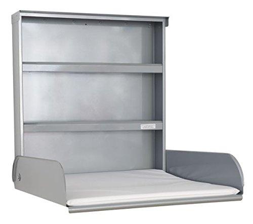 Enfermería De Acero mesa con sistema de estanterías y cambiador–byBo diseño plata