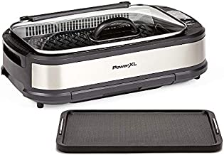 PowerXL Smokeless Grill with Tempered Glass Lid and Turbo Speed Smoke Extractor Technology. Make Tender Char-grilled Meals Inside With Virtually No Smoke (Stainless Steel with Griddle Plate)
