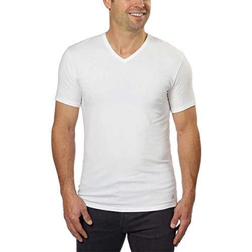 Calvin Klein Cotton Stretch V-Neck, Classic Fit T-Shirt, Men's (3-pack) (White or Black) (White, X-Large)