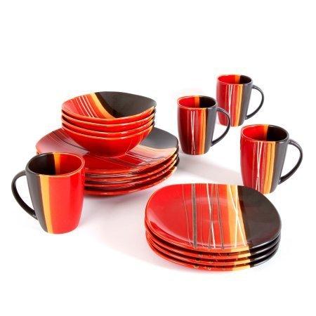 Better Homes and Gardens Bazaar 16-Piece Dinnerware Set, Red