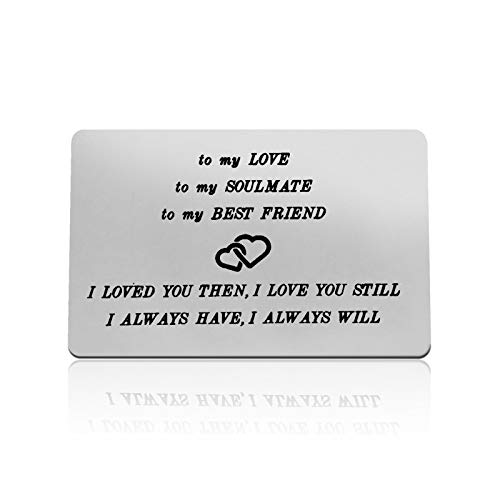 Anniversary Card Gift for Husband Wife Engraved Wallet Card Gift for Men To My Love Card Valentines Day Wedding Gift for Couple Boyfriend Girlfriend Christmas Birthday Gifts for Him I Love You Gift