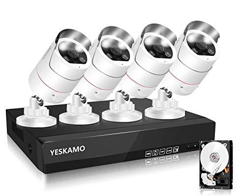 [8 Kanal PoE Überwachungskamera Set mit Flutlicht & Audio],YESKAMO Überwachungssystem mit 4x IP66 wasserfest 3MP Kamera eingebaute AI Humansmelder,Alarm, 30M Nachtsicht mit 2TB HDD für Außen und Innen