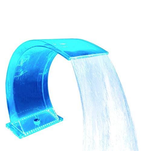 Fuente de Piscina en Cascada iluminada Acrílico 7 Colores LED Fuente de Piscina Aliviadero con Control Remoto para jardín de Descenso Escarpado Hidroterapia al Aire Libre SPA