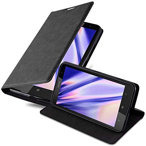 Cadorabo Funda Libro para Nokia Lumia 1320 en Negro Antracita - Cubierta...