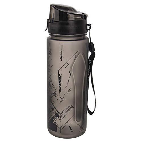 ORION Trinkflasche mit Gurt TRITAN BPA-Frei, Tritan, 750 ml, Wasserflasche für Sport, Fitness, Outdoor Schwarz