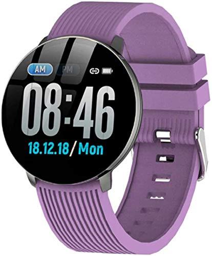 Reloj inteligente IP67 impermeable presión arterial monitor de ritmo cardíaco Fitness Tracker pulsera deportiva para hombres y mujeres-púrpura