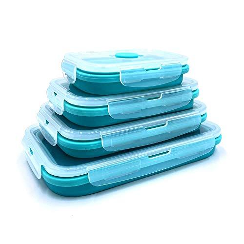 4X Faltbare Frischhaltedosen Set, Frischhalteboxen, Brotdosen aus Silikon, Brotbox, platzsparend, stapelbar (türkis)