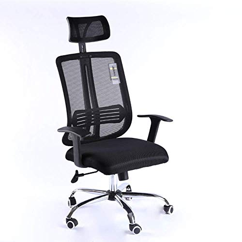 YUXIwang Silla de la oficina de Silla giratoria de oficina de malla silla giratoria de oficina Escritorio Silla alta regulable en altura y soporte de la cabeza Negro Ruedas silla de la computadora Sil