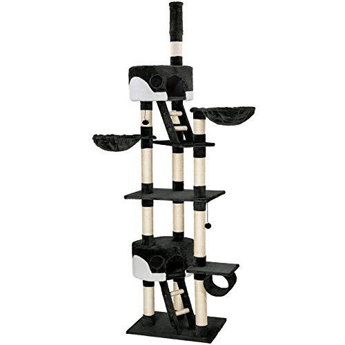 TecTake Tiragraffi per gatto gatti gioco palestra 240-260cm con fissaggio a soffitto - disponibile in diversi colori - (Nero-Bianco | no. 401638)