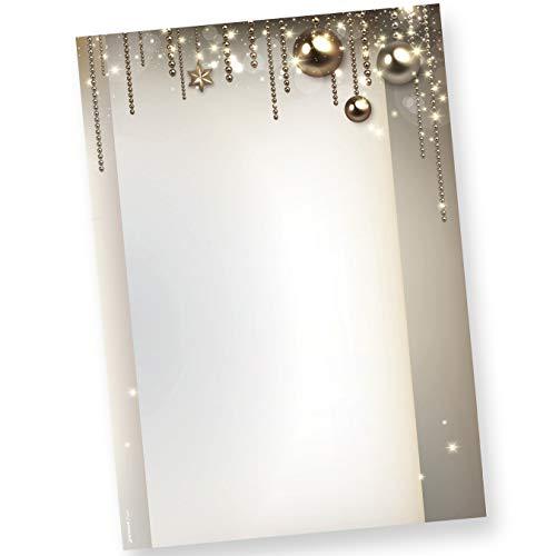 Weihnachtsbriefpapier NOBLESSE (50 Blatt) elegantes Design-Briefpapier Weihnachten DIN A4 90 g/qm bedruckt
