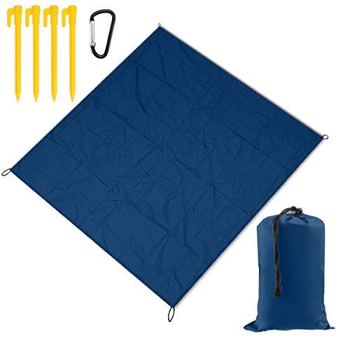 Nonebrand Picknickdecke, einfarbig, blau, weiß, tragbar, leicht, wasserdicht, sanddicht, Stranddecke, große Picknick-Matte und für Outdoor-Reisen, Camping, Wandern, Aktivitäten