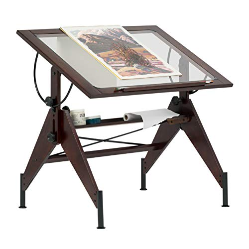 STUDIO DESIGNS Aries Glass Top Drafting Table Sonoma Dark Walnut