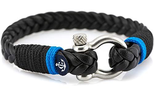 CONSTANTIN NAUTICS SAIL WITH US Maritimes Armband aus Leder, handgemacht, für Damen und Herren, mit Edelstahl Verschluss 4mm CNJ #10024 21cm