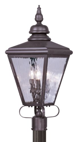 Livex Lighting 2034-07 Outdoor Post with Clear Water Glass Shades, Bronze