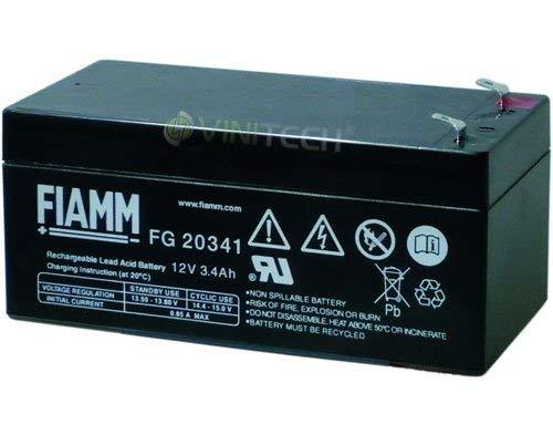 Fiamm Accu serie FG 12V noodstroomvoorziening UPS aansluiting Faston 187 plat 4,8 mm (FG20341 ampère 3,4 Ah)