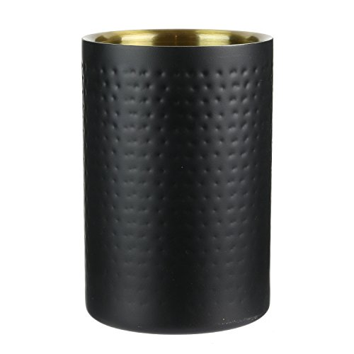 SAVEUR ET Degustation KV7220 Rafraichisseur Bouteille Martelé, INOX, Noir, 12 x 12 x 17,8 cm