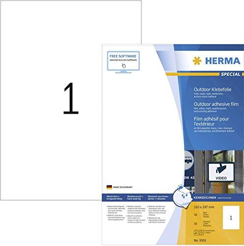 HERMA 9501 Wetterfeste Folien-Etiketten DIN A4 (210 x 420 mm, 50 Blatt, Polyethylen, matt) selbstklebend, bedruckbar, extrem stark haftende Outdoor Klebefolie, 50 Klebeetiketten, weiß